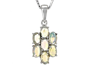 Multicolor Ethiopian Opal Sterling Silver Pendant With Chain 1.05ctw