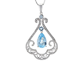 Sky Blue Topaz Sterling Silver Pendant With Chain 5.64ctw