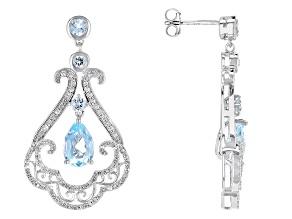 Blue Topaz Sterling Silver Earrings 4.25ctw