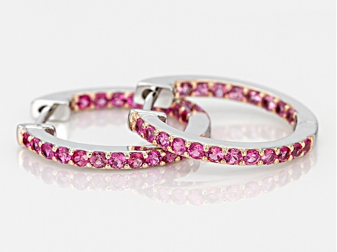 Pink Spinel Rhodium Over Sterling Silver Hoop Earrings .88ctw