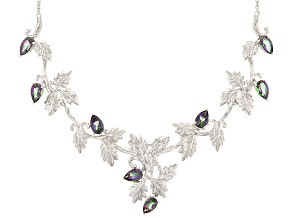 Green Mystic Fire® Topaz Sterling Silver Leaf Necklace 6.60ctw