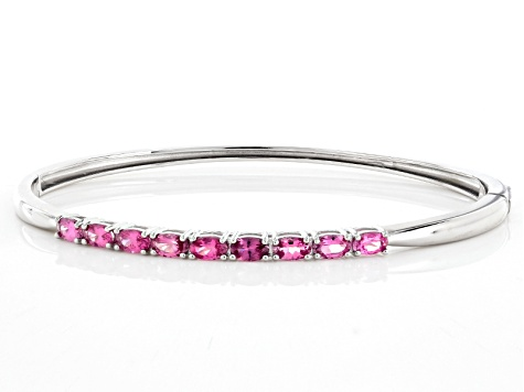 Pink Spinel Sterling Silver Bangle Bracelet 2.05ctw