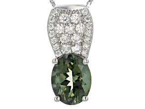 Green Labradorite Silver Pendant With Chain 2.47ctw