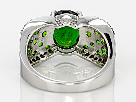 Green Chrome Diopside Sterling Silver Ring 3.50ctw