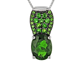 Green Chrome Diopside Silver Slide Pendant With Chain 2.70ctw