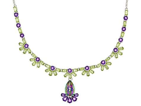 Mystic Topaz® Sterling Silver Necklace 25.43ctw