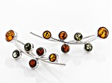 Multi Amber Sterling Silver Climber Earrings