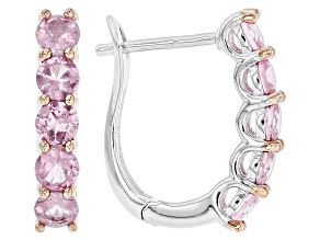 Pink Spinel Sterling Silver J-Hoop Earrings 1.53ctw