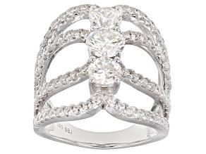White Lab Created Strontium Titanate Silver Ring 3.83ctw