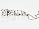 White Fabulite Strontium Titanate and White Zircon Silver Slide With Chain 2.27ctw