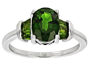 Green Chrome Diopside Sterling Silver Ring 1.91ctw