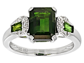 Green Chrome Diopside Sterling Silver Ring 2.42ctw