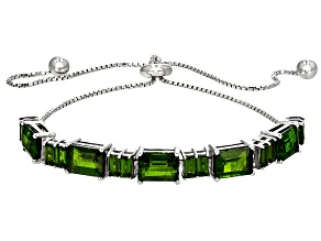 Green Chrome Diopside Sterling Silver Bolo Bracelet 5.40ctw