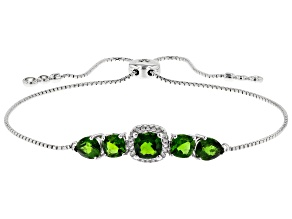 Green Chrome Diopside Sterling Silver Bolo Bracelet 3.52ctw