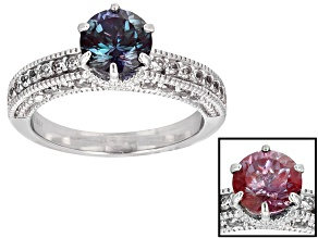 Lab Created Color Change Alexandrite Sterling Silver Ring 2.05ctw