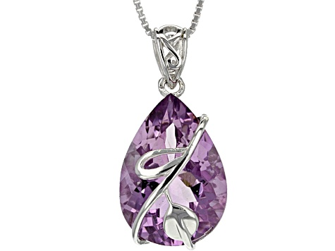 Purple Amethyst Sterling Silver Solitaire Pendant With Chain 9.31ct