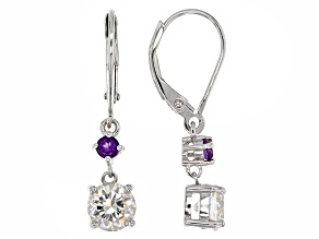 White Fabulite Strontium Titanate And African Amethyst Silver Earrings 2.54ctw