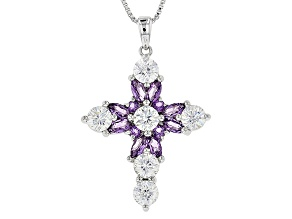Purple Amethyst Sterling Silver Cross Pendant With Chain 2.42ctw