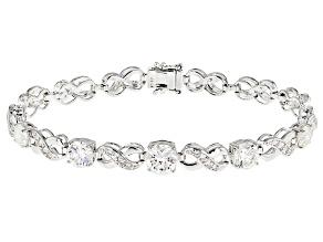 White Fabulite Strontium Titanate And White Zircon Silver Bracelet 9.73ctw