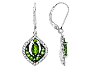 Green Chrome Diopside Sterling Silver Earrings 2.11ctw