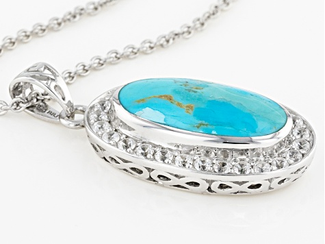 Blue Turquoise Sterling Silver Pendant With Chain 1.35ctw