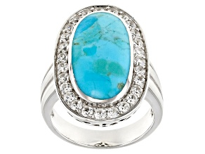 Blue Turquoise Sterling Silver Ring 1.35ctw.