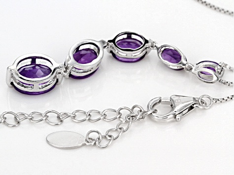 Purple Amethyst Sterling Silver Slide With Chain 3.53ctw