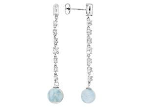 Blue Larimar Sterling Silver Earrings 1.57ctw