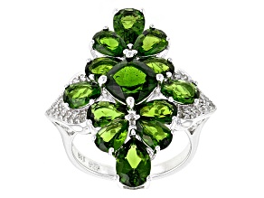 Green Chrome Diopside Rhodium Over Sterling Silver Ring 7.19ctw.