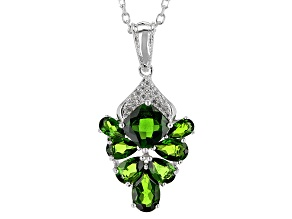 Green Chrome Diopside Sterling Silver Pendant With Chain 5.32ctw