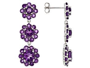 Purple Amethyst Sterling Silver Dangle Earrings 5.71ctw