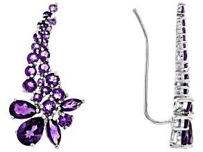 Purple Amethyst Sterling Silver Climber Earrings 4.13ctw