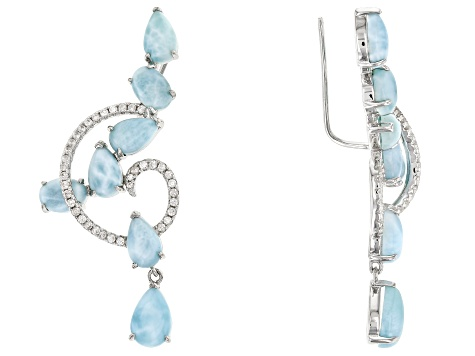 Blue Larimar Sterling Silver Climber Earrings .68ctw