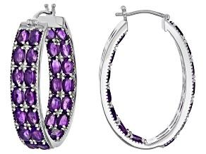 Purple Amethyst Sterling Silver Earrings 11.93ctw