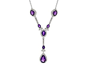 Purple Amethyst Sterling Silver Y Necklace 9.50ctw