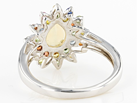Multicolor Ethiopian Opal Sterling Silver Ring 1.41ctw