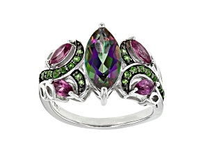 Mystic Fire® Green, Mystic Topaz® Silver Ring 2.69ctw