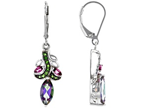 Green Mystic Fire® Topaz Rhodium Over Sterling Silver Earrings 2.61ctw