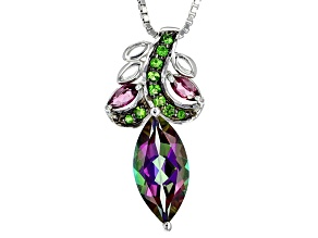 Mystic Fire® Green, Mystic Topaz® Silver Slide With Chain 1.97ctw