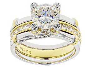 White Fabulite Strontium Titanate And White Zircon  Two-Tone Silver Ring And Guard Set 3.15ctw