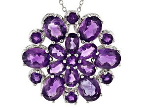 Purple Amethyst Sterling Silver Slide With Chain 10.05ctw