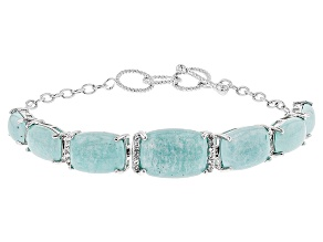 Blue Amazonite Sterling Silver Bracelet .36ctw