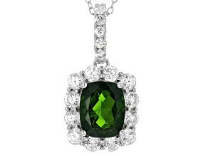 Green Chrome Diopside Sterling Silver Pendant With Chain 4.42ctw