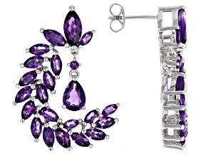 Purple Amethyst Rhodium Over Sterling Silver Earrings 7.31ctw