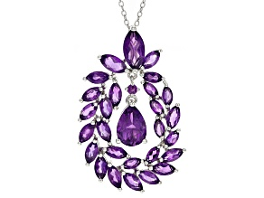 Purple Amethyst Sterling Silver Slide With Chain 7.13ctw