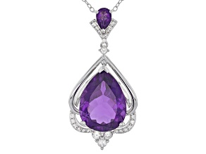 Purple Amethyst Sterling Silver Pendant With Chain 7.38ctw