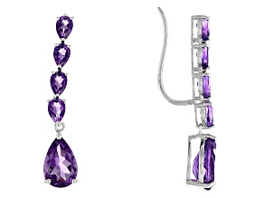 Purple Amethyst Sterling Silver Climber Earrings 7.34ctw