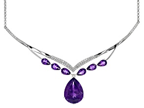 Purple Amethyst Sterling Silver Necklace 17.71ctw