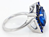 Blue Lab Created Spinel Sterling Silver Ring 4.41ctw