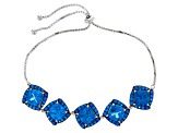 Blue Lab Created Spinel Sterling Silver Bolo Bracelet 12.72ctw